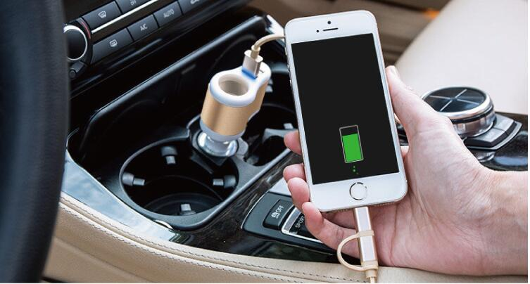 vehicle-mounted Dual USB port charger Output 12V-24V. input 5V-3.1MA. Convenient for Peugeot 206 207 208 301 307 308 407 2008