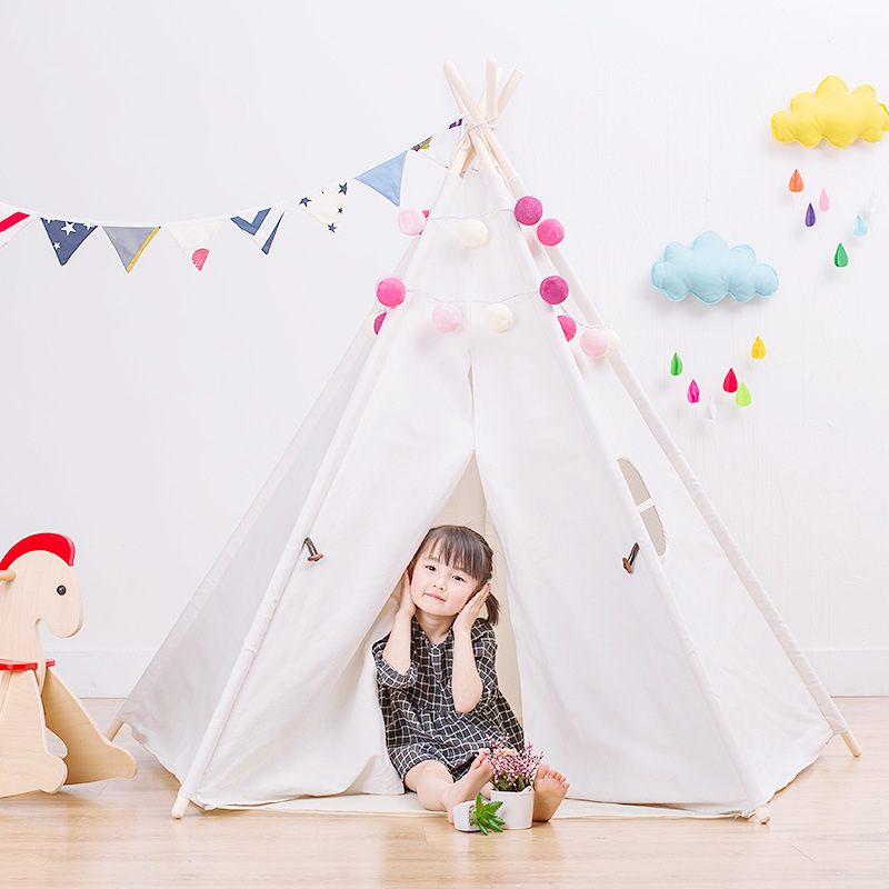 YARD Indian Pattern Children Toy Tent Teepees Safety Tipi Portable Playhouse Kids Teepee Tents mrpomelo kids toy tent solid color indian white tents with window 100