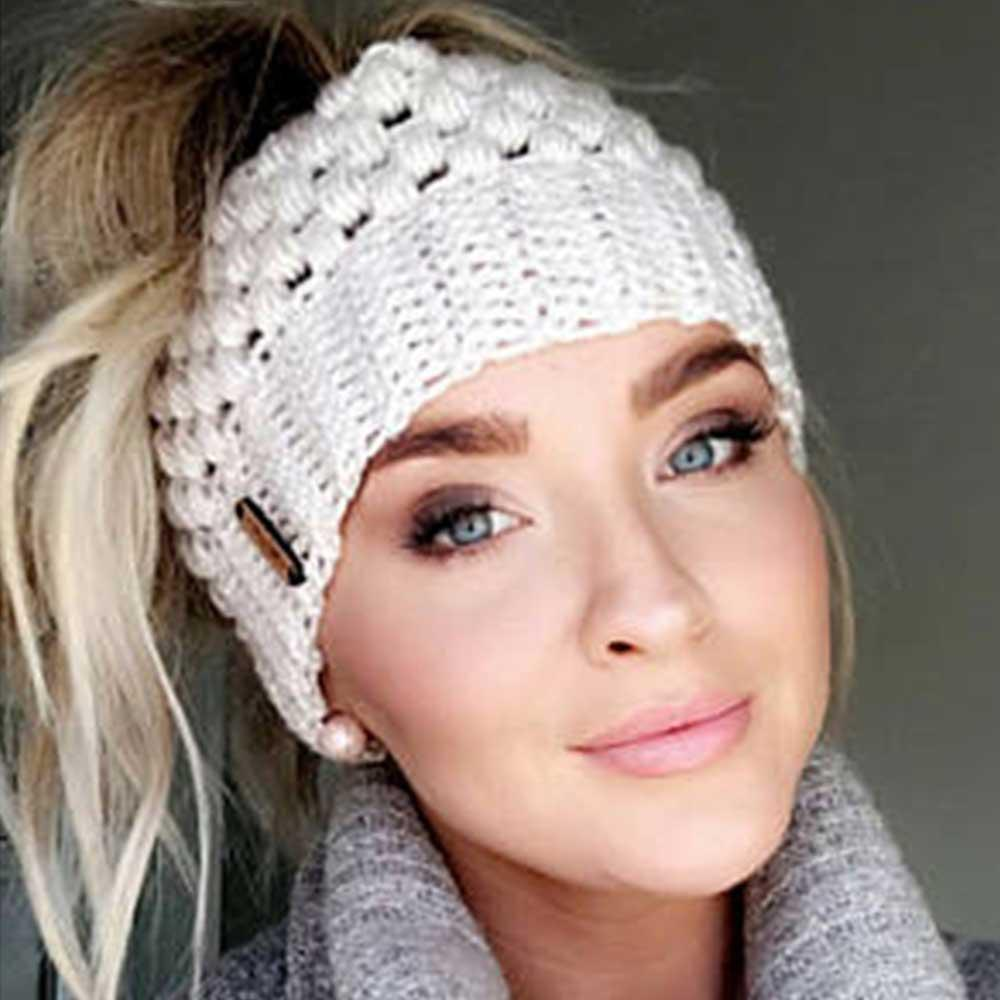 Ponytail   Beanie   Winter Hats For Women Crochet Knit Cap   Skullies     Beanies   Warm Caps Female Knitted Stylish Hat Ladies Fashion