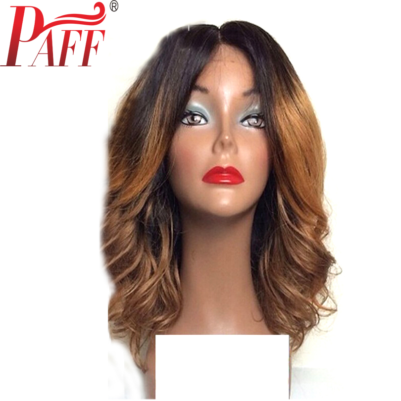 PAFF Short Human Hair Lace Front Wigs Ombre Color Peruvian Bob Virgin Hair Two Tone Hair Wig with Baby Hair Middle Part