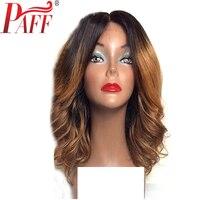 Paff короткие Человеческие волосы Синтетические волосы на кружеве Искусственные парики Ombre Цвет перуанский Боб натуральная волос два тона па