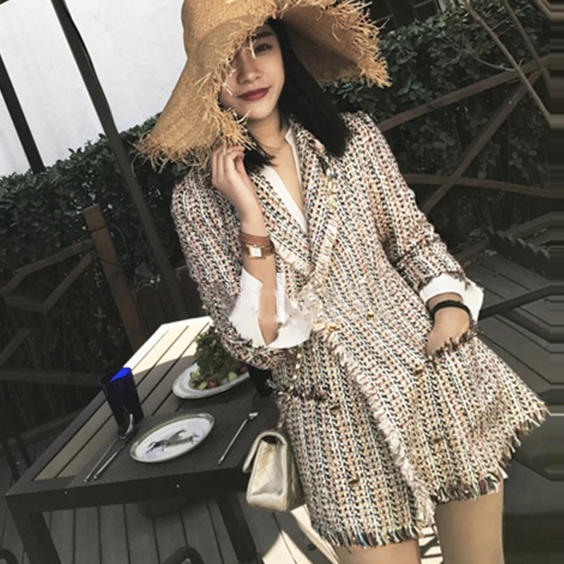 Tweed jacket double breasted 2019 autumn winter women s jacket Slim in the long suit small