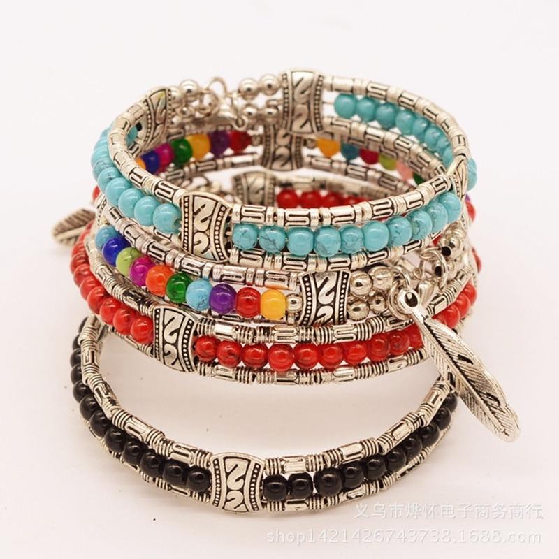 Party Fashion Tibetan Silver Feather Gypsy Women Bangle Trendy Vintage Bohemian Bracelet Red, Blue, Black, Multicolor