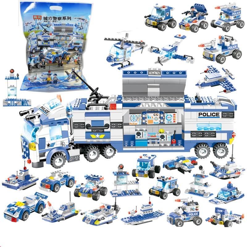 762Pcs 8 EM 1 Aeronave Robô Carro Cidade Tijolos Conjuntos de Blocos De Construção Da Polícia SWAT Criador Playmobil Brinquedos Educativos Para crianças