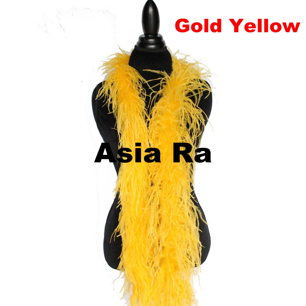 Holiday Performation Decoration Gold Yellow Strip Natural Beautiful 2ply Ostrich Feather Boa Wedding Party Supplies 10M/lot-in Feather from Home & Garden    1