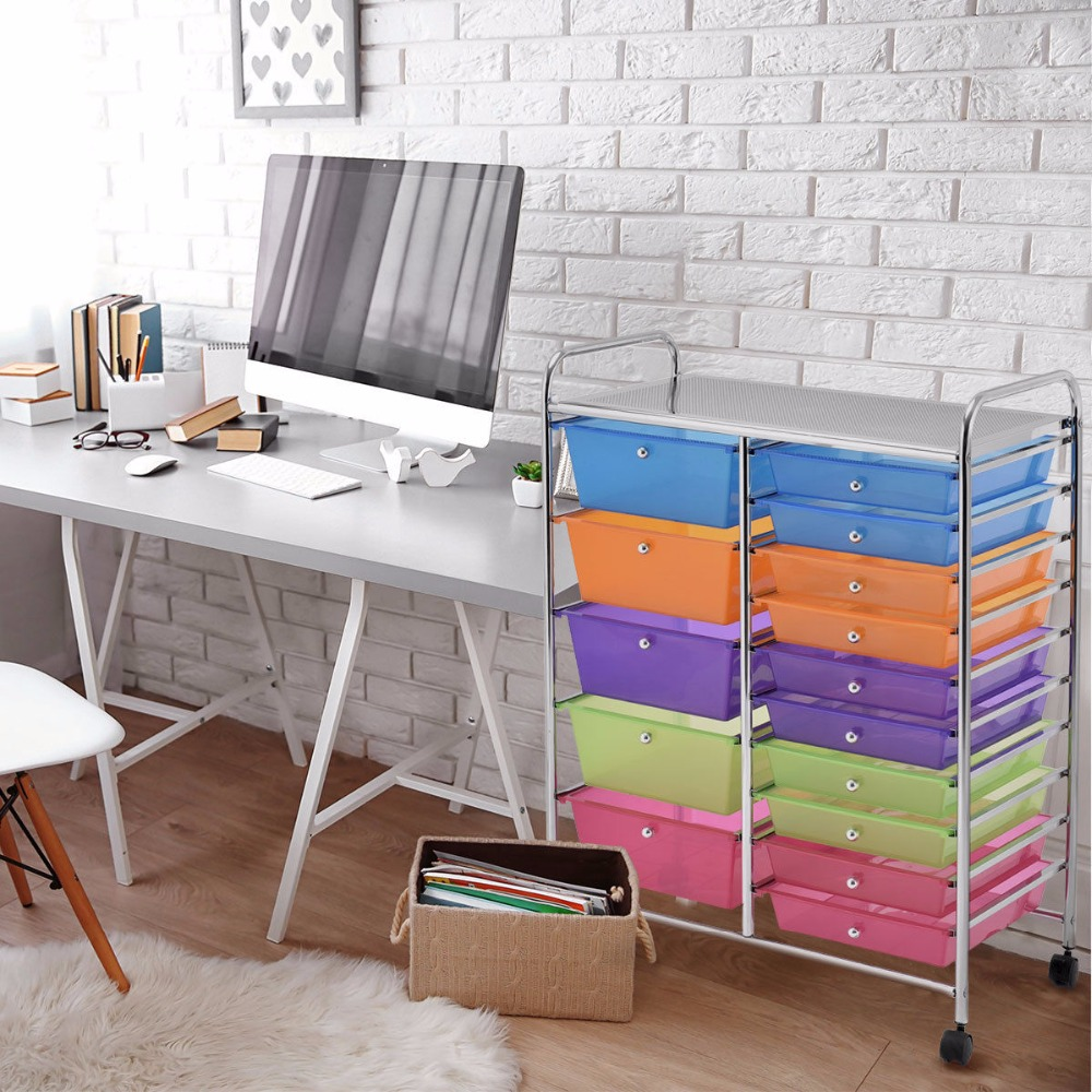 Giantex 15 Drawer Rolling Storage Cart Tools Scrapbook Paper Office School Organizer NEW Home Furniture HW53825