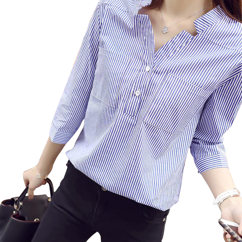 1f018fc531aaa9 White blue striped blouse shirt Women striped shirts tops Ladies blusas  Spring Summer 2017 casual deep v neck camisa