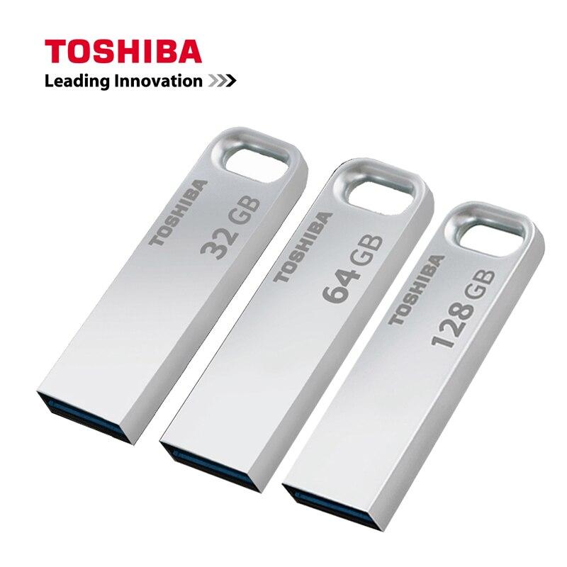 NEW USB3.0 TOSHIBA USB Flash Drive 128GB 64GB 32GB Pen Drive Pendrive Waterproof Metal Silver U Disk Memoria Cel Usb Stick U363