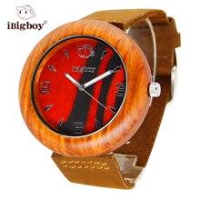 IBigboy Hombres Relojes de Madera De Sándalo Regalo del Amante 12 Reloj Analógico Reloj de Las Mujeres Correa de Cuero Reloj de pulsera de Cuarzo Relogio masculino