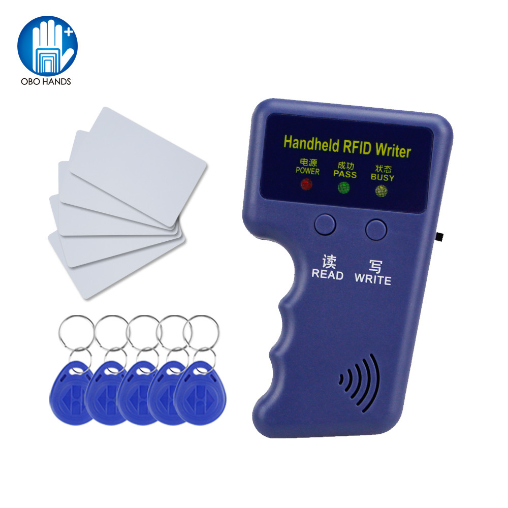 Handheld 125khz RFID Duplicator key copier reader writer ID card cloner Programmer +5 Keys +5pcs Rewritable Cards EM4305 T5577 handheld 125khz rfid duplicator key copier reader writer id card cloner programmer 5 keys 5pcs rewritable cards em4305 t5577