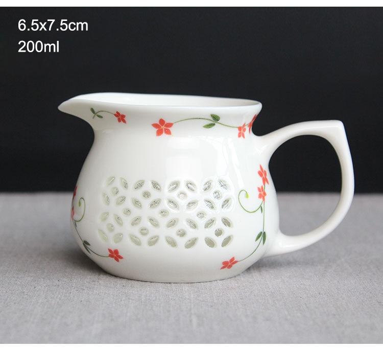 Ev ve Bahçe'ten Çay Takımı Setleri'de Çin Benzersiz Ajur Gongfu çay bardağı Dehua seramik çay bardağı El Boyalı filtresi bardak çay deniz  1 adet gongdao çay fincanı title=