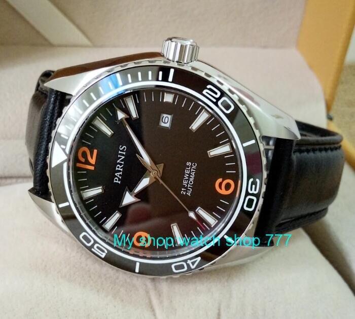 Szafirowy kryształ 45mm PARNIS japoński 21 klejnotów automatyczne self wiatr mechaniczne zegarki ceramiczne Bezel 5ATM zegarki męskie 02 w Zegarki mechaniczne od Zegarki na  Grupa 1