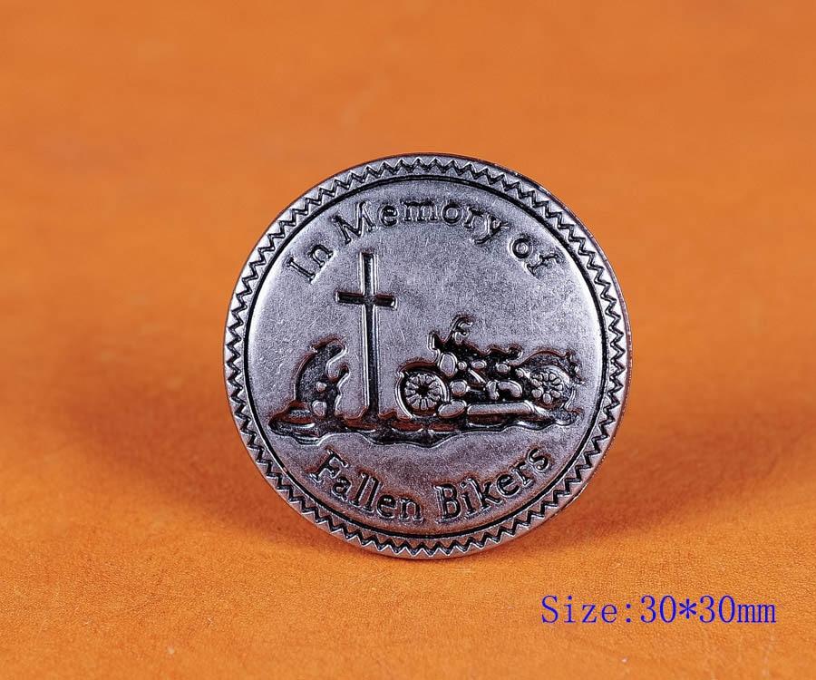 10X 30 mm Vintage silver Moto Conchos in memory of fallen Bikers Vis Arrière