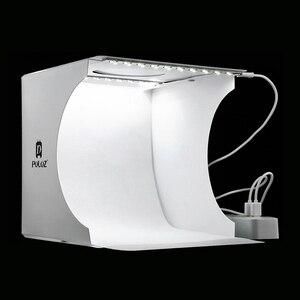 Mini Folding Lightbox Photography Photo Studio Softbox 2 Panel LED Light Soft Box Photo Background Kit Light box for DSLR Camera(China)