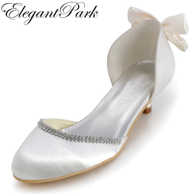 Elegant Woman Shoes EP41012 Ivory Round Toe Bow Low Heels Comfortable Satin Wedding Bridal Pumps
