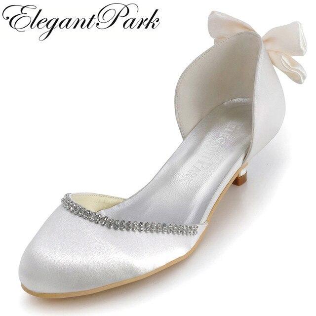 cheap for discount 2e7b2 33935 US $41.99 16% OFF Elegante Frau Schuhe EP41012 Ivory Runde Kappe Bogen  Niedrigen Absätzen Komfortable Schuhe Satin Hochzeit Braut Pumpen ...