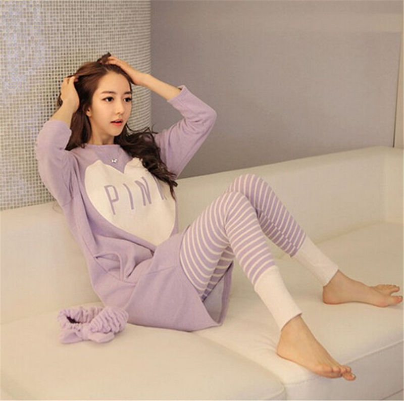 Spring And Autumn Korea Fashion Women Pajamas Heat Pink Lovely Loose Milk Silk Pajamas Sets Long-sleeved Pants Home Wear