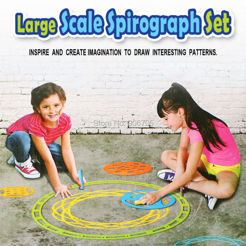 Large Scale Spirograph Drawing toys set with 3pcs Chalk Draw Spiral Designs Artist Studio, Creative Drawing For Adults and Kids