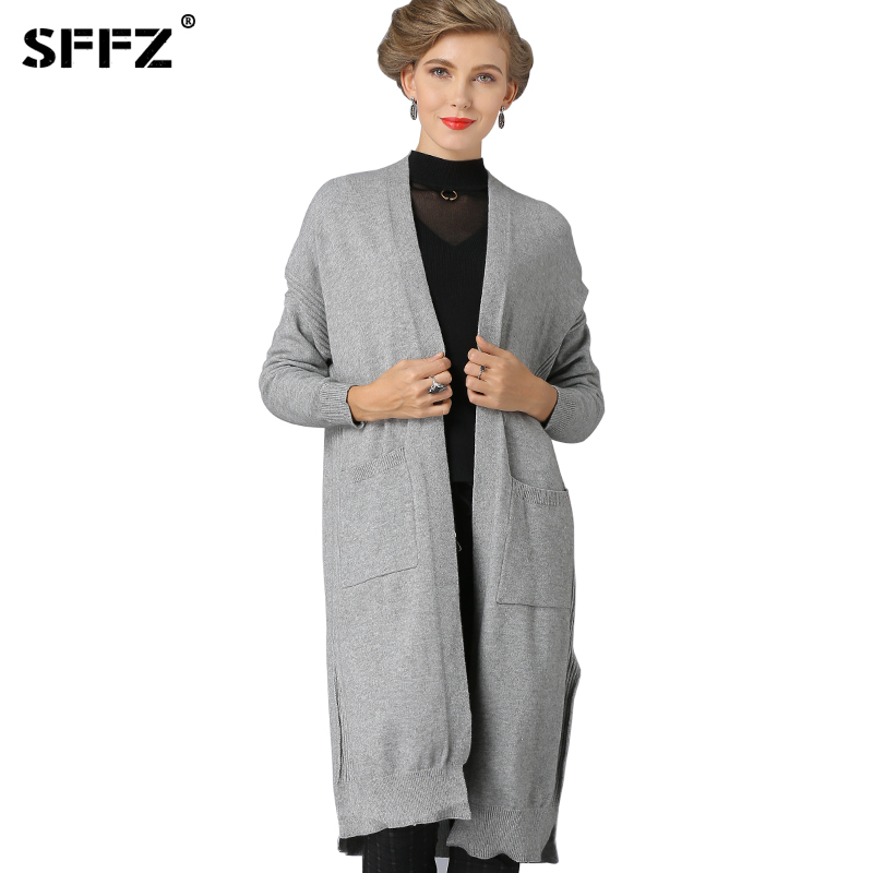 SFFZ 2018 Christmas Knitted Women Sweater Oversize Casual Thick Warm Jacket Solid O-Neck Female Knitwear Open Stitch Long Coat