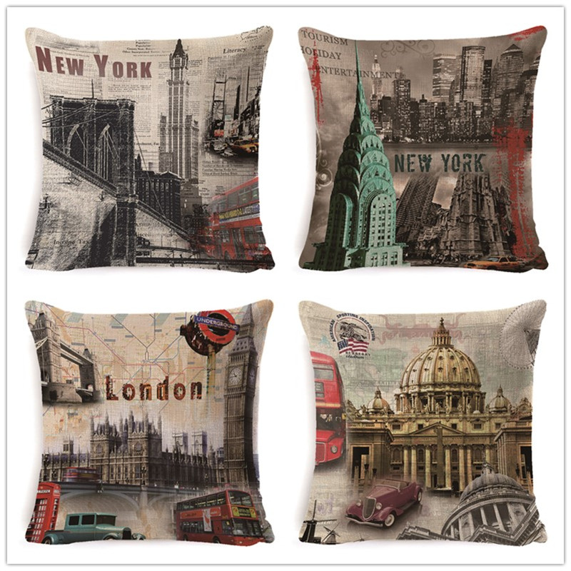 FOKUSENTFrance Tower Pillow case France red wine cover Paris Cushion Covers for Seat Cases Wholesale Promotion Home 2018