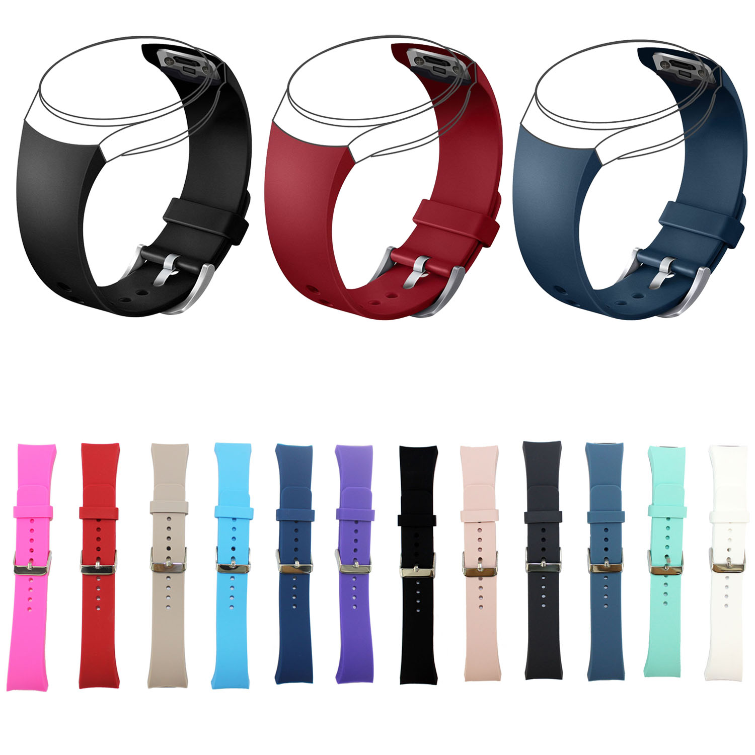 Colorful Sports Silicone Wrist Strap for Samsung Galaxy Gear S2 SM-R720 Band Metal Buckle Rubber Bracelet Replacement Wristbands jansin 22mm watchband for garmin fenix 5 easy fit silicone replacement band sports silicone wristband for forerunner 935 gps