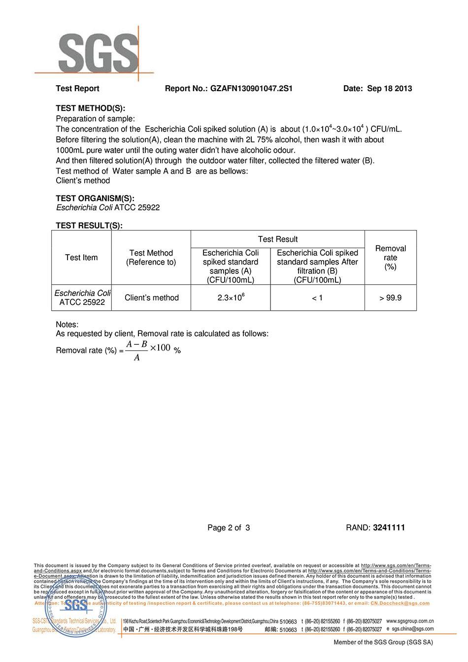 miniwell L630-SGS test report