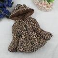 Зимой Дети Пальто Leopard искусственной лиса меховой воротник пальто Куртки Девочка Верхняя Одежда Толстовки Детской Одежды кашемир Теплые Куртки