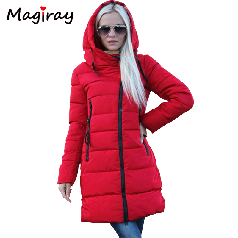 Magiray 2017 Hooded Winter Women Coat Jacket Warm Outwear Zipper Pocket Long Ladies Thick Clothing Parkas Female Slim Top C493 2017 new women winter coat long quilted jacket thick warm solid color cotton parkas female slim hooded zipper outwear okb88