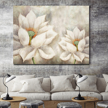 100% Hand Painted Big White Flowers Art Oil Painting On Canvas Wall Adornment Picture For Live Room Home Decor