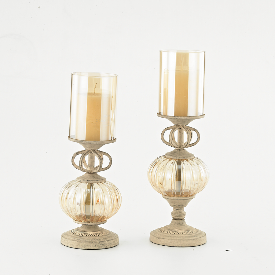 White Metal Crystal Candle Holders Home Decor Candlestick Christmas ...