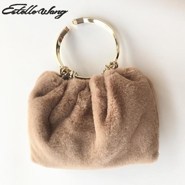 e839e758ff Estelle Wang Cute Plush Bucket Japan Small Handbag Faux Fur Snake Chain  Totes Women Metal Handbag