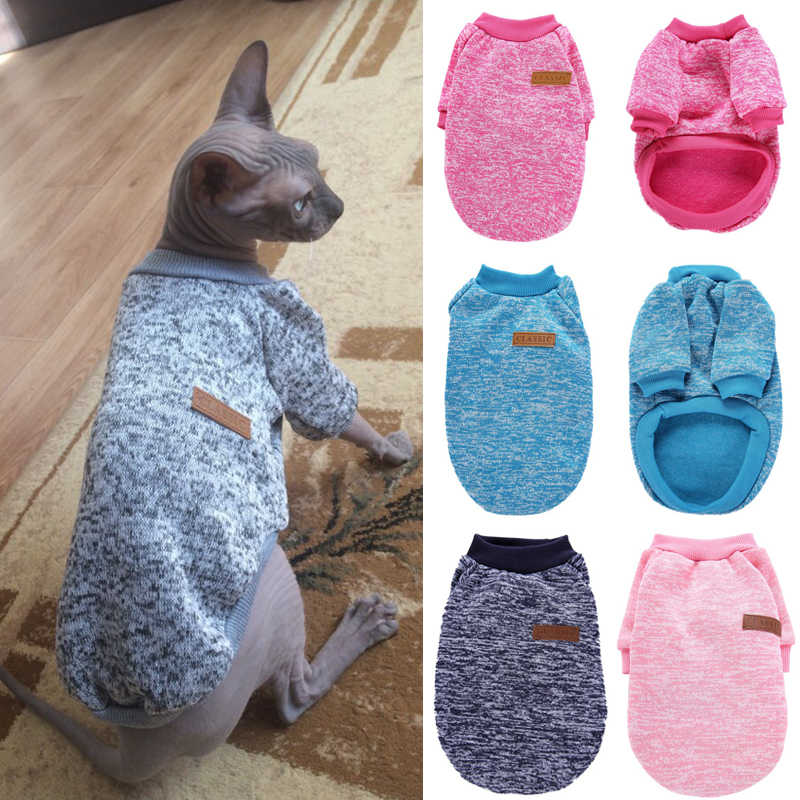 Warm Cat Sweaters Clothing Classic Fashion Pet Dog Cat Clothes for Small Cats Kitten Chihuahua Outfit Winter Cat Costume Coat