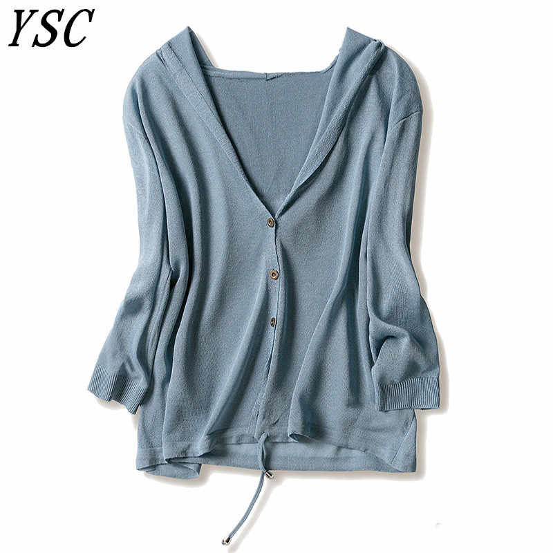 YSC 2019 Summer New Design Linen cardigan Collar with hat Pleasantly cool Knitted Shirt Loog paragraph Sunscreen Belt style