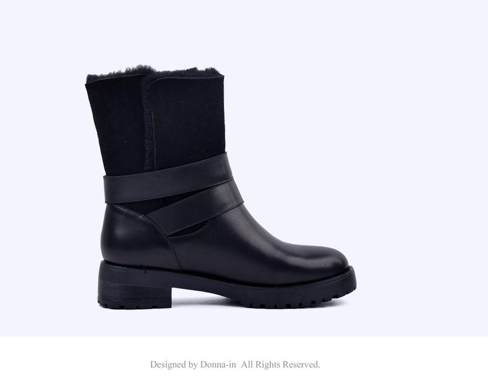 DONNA-IN 2017 winter new styles real fur mid-calf boots thick outsole metal buckle women boots warm wool low heel snow boots 838-702 (14)