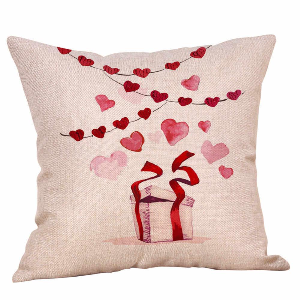 4PCS Happy Valentine Pillowcase Decorative Body Pillow Case Plain Design Qualified Bedclothes 45cmX45cm Valentin 1N2