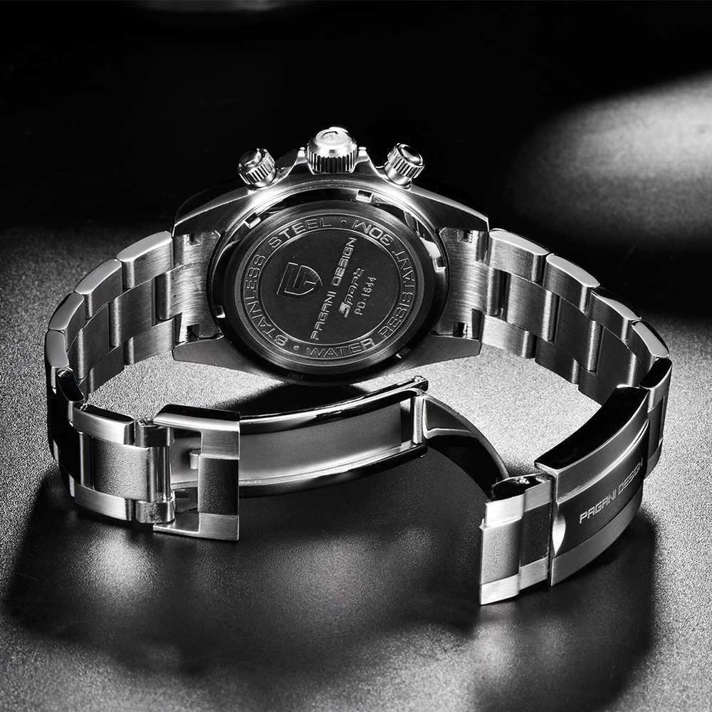 パガーニメンズ腕時計トップブランドの高級腕時計クォーツ時計ブラック腕時計メンズ防水スポーツクロノグラフレロジオ Masculino