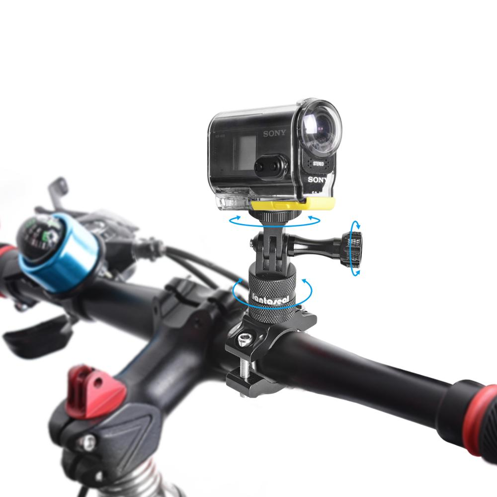 Image 3 - Aluminium Alloy Bike Bicycle Handlebar Rotary Stand Bracket Clamp for Sony FDR X3000 AS300 AS50R AS50 Action Camera Mount Holder-in Sports Camcorder Cases from Consumer Electronics