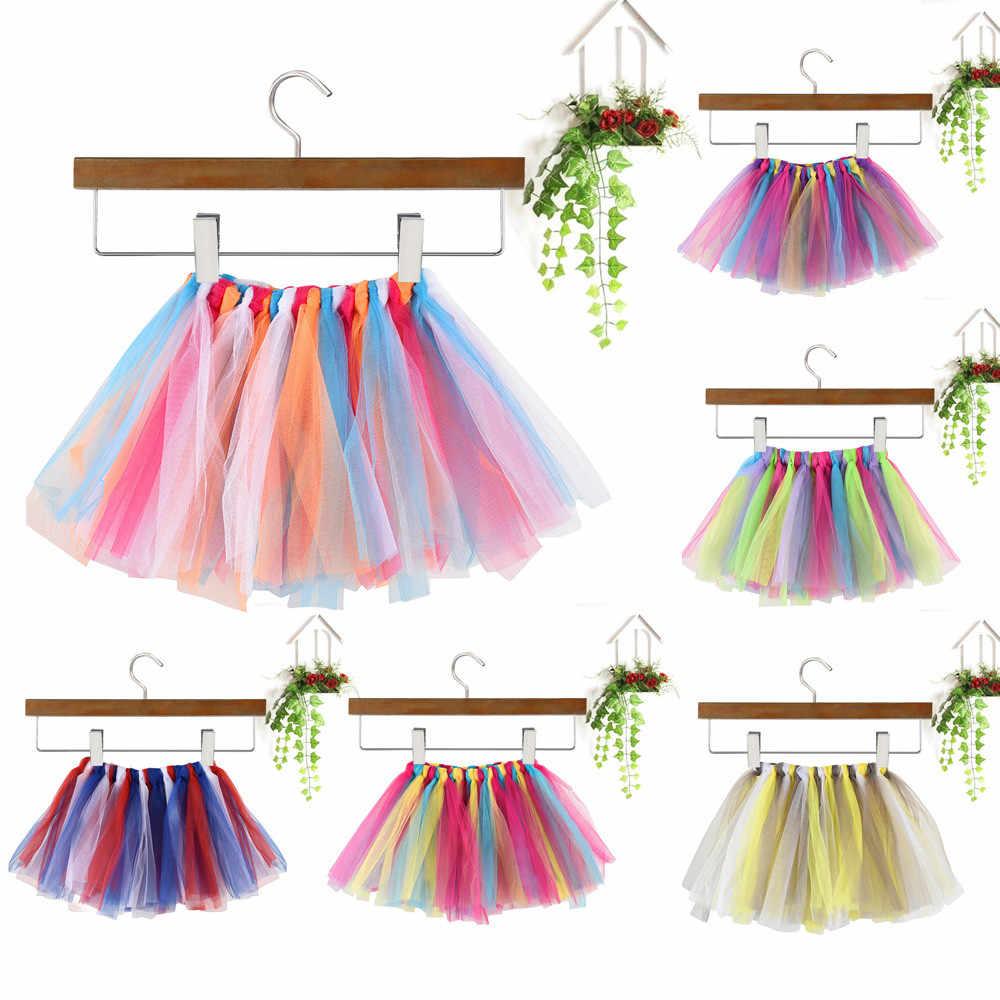 Niñas niños bebé baile falda Tutu esponjosa vestido de Ballet elegante traje de niñas falda tutú Arco Iris programa de calidad de Tut