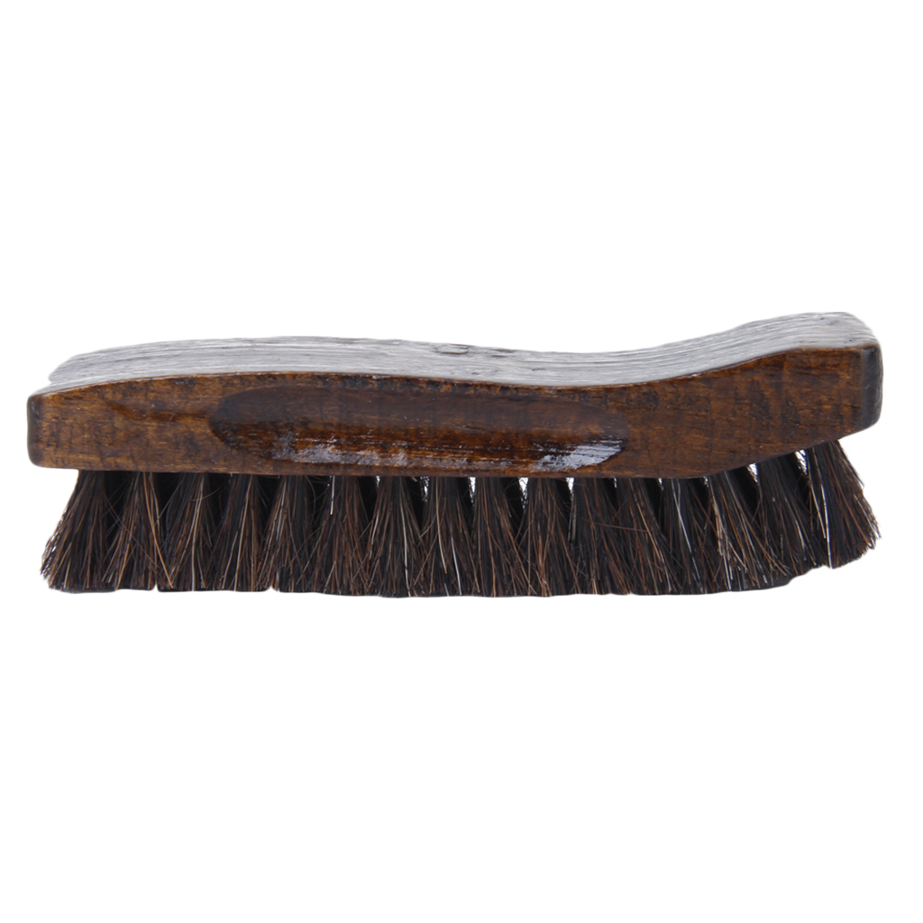 Multi-Functional Comfortable Wooden Shoe Brush Boot Shoes Cleaning Polishing Equipment Black + Brown