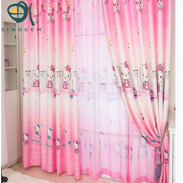 sinogem children curtains kids pink printing kitty cat curtains for girls window cartoon for girl room - Cat Curtains