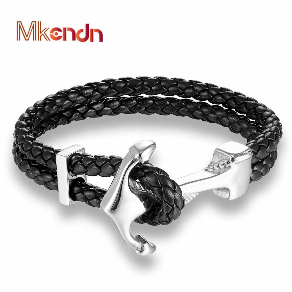 MKENDN 2017 Fashion Stainless Steel Anchor Bracelet Men Black Braided Cowhide Leather Rope Bracelets Wrap Punk Charm Jewelry