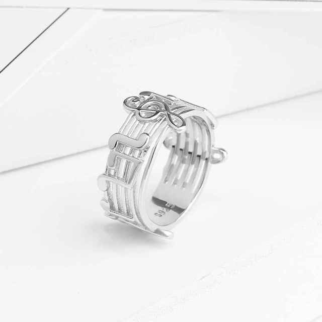 New 925 Sterling Sliver Rings for Women with Musical Note Pattern Music Lover's Band Ring Fashion Jewelry Gift JewelOra RI102767