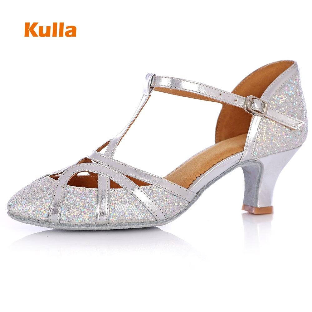 Kulla Glitter Shining Zapatos de baile latino para mujer Tacones altos Salón de baile Tango Baile Salsa Shoes Adultos suela blanda Chaussure