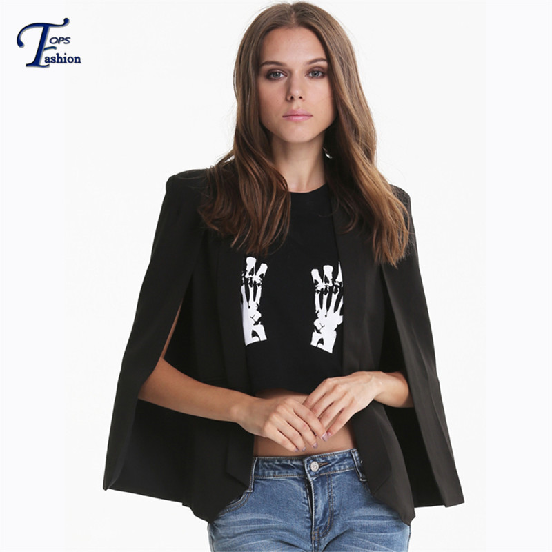 Korean Style Office Ladies Newest Spring Fitted Black Lapel Pockets Fashion Women's Split Long Sleeve Cape Blazer - DIDK Official Store store