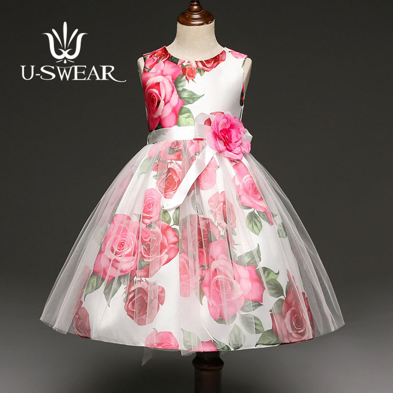 U-SWEAR 2019 New Arrival Kid   Flower     Girl     Dresses   Sleeveless O-neck Rose Print   Flower   Appliqued Ball Gown Pageant   Dresses   Vestido