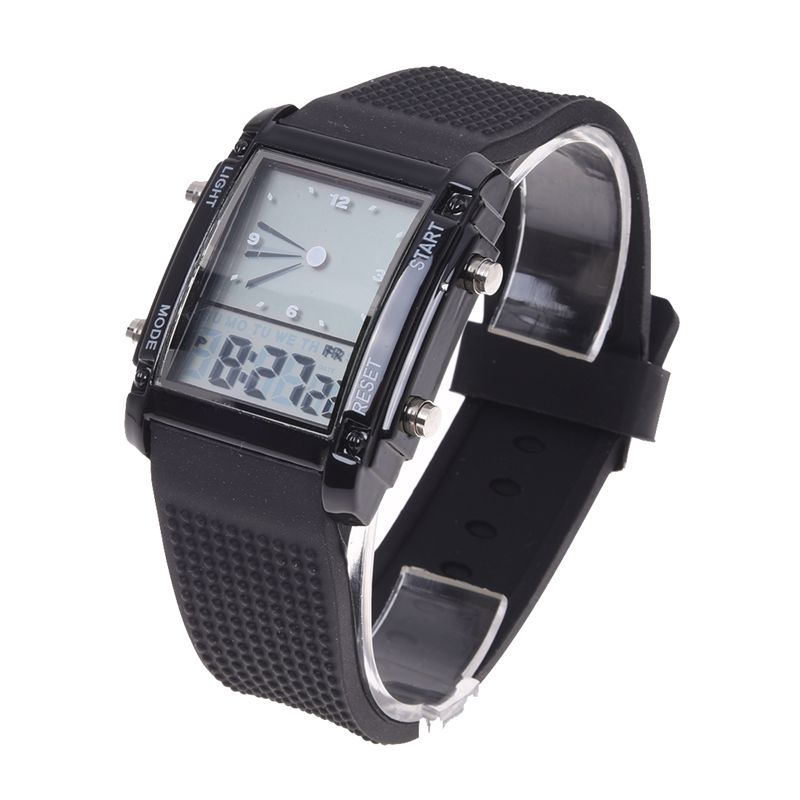 Flash Dual Time LCD Digital Date Day Alarm LED Men Boys Sport Wrist Watch Gift image