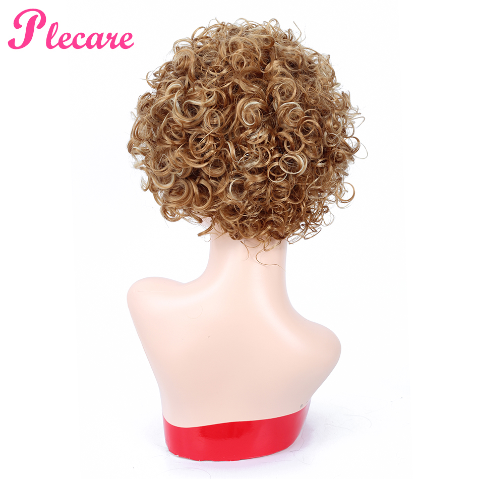 Plecare Short Afro Kinky Curly Wig Blond Brown Synthetic Wig For Black Women African Hairstyle Pruiken Cosplay Wig Free Shipping
