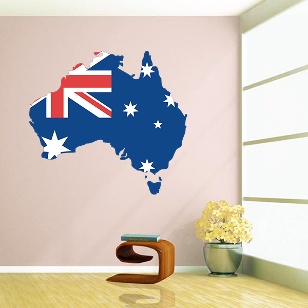 flag map of australia wall vinyl sticker custom made home decoration
