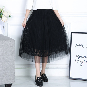 2017 lace pleated skirt long skirts in summer posed white gauze high - waisted a - line skirt woman sneaked away 蕾丝 纱 裙