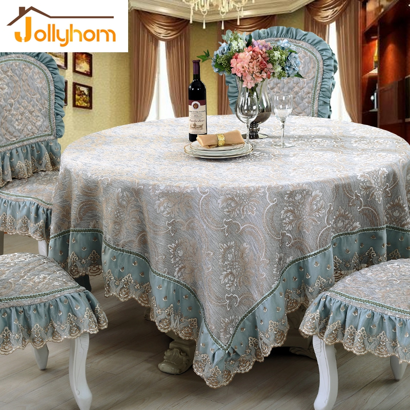 European Jacquard Round Tablecloth Embroidery Lace Dining Table Cover Square Tea Cloth Champagne Aqua